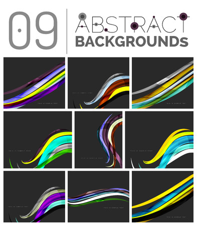 philosophical: Wave abstract background collection - color lines with light effects. Modern elegant motion concept, smooth wavy shape. Presentation banner and identity business card message design template set Illustration