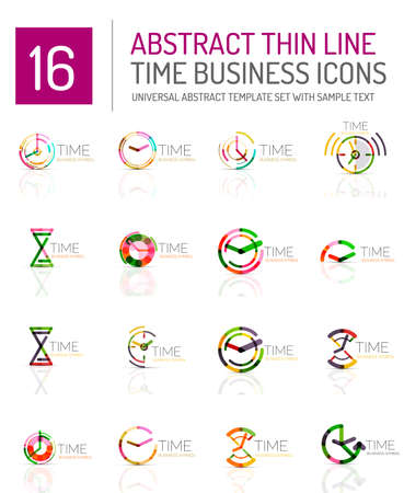 timing: Geometric clock and time icon  set. Thin line geometric flat style symbols . Business time management, running time idea, timing concept