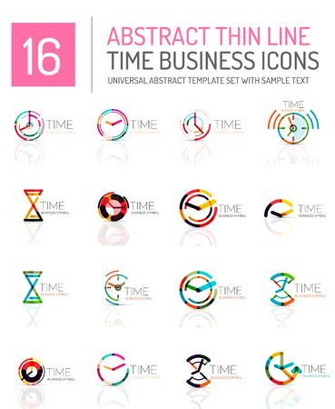 Geometric clock and time icon  set. Thin line geometric flat style symbols . Business time management, running time idea, timing concept