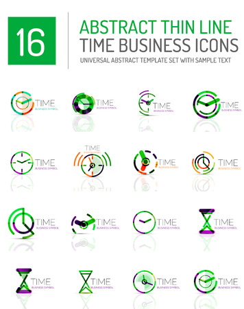 timekeeper: Geometric clock and time icon  set. Thin line geometric flat style symbols. Business time management, running time idea, timing concept