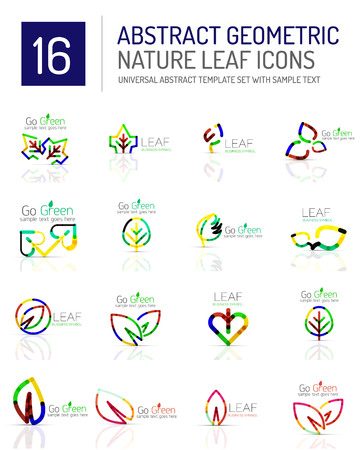 life style: Geometric leaf icon set. Thin line geometric flat style symbols . Nature green environmental concept, new life idea in various color variations. Eco love heart Illustration