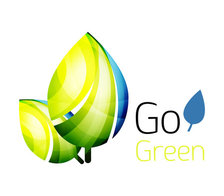 quality of life: Go green. Leaf nature concept. Vector icon