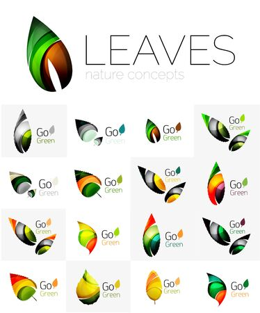 logotypes: Leaf logo set. Vector collection of abstract geometric design futuristic leaves - go green logotypes. Illustration