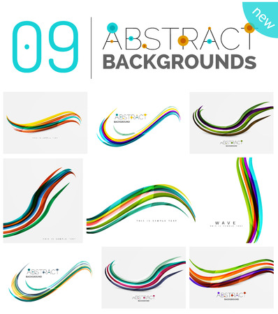 Wave abstract background collection - color lines with light effects. Modern elegant motion concept, smooth wavy shape. Presentation banner and identity business card message design template set Illustration