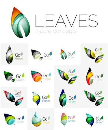 heart health: Leaf logo set. Vector collection of abstract geometric design futuristic leaves - go green logotypes. Created with color overlapping geometric elements - waves and swirls. Shiny and glossy effects