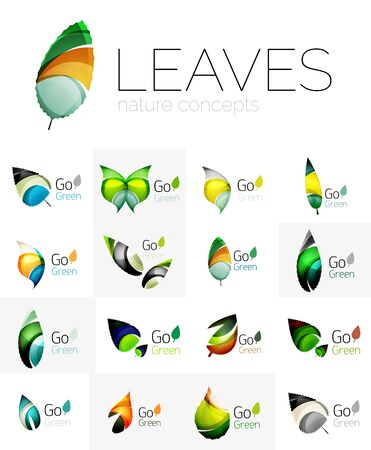 go green logo: Leaf logo set. Vector collection of abstract geometric design futuristic leaves - go green logotypes. Created with color overlapping geometric elements - waves and swirls. Shiny and glossy effects