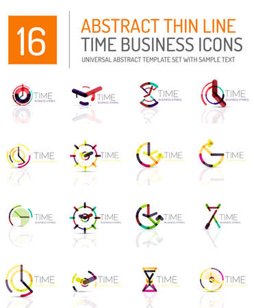 timekeeper: Geometric clock and time icon logo set. Thin line geometric flat style symbols or logotypes. Business time management, running time idea, timing concept