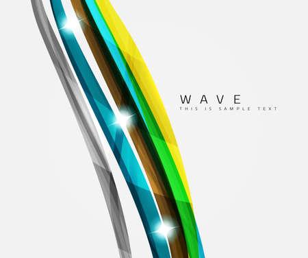 strisce colorate composizione onda, modello di business - geometrico astratto, turbolenza linee colorate - strisce di colore e linee curve in concetto di movimento e con luci e ombre gli effetti. Presentazione banner e biglietti da visita modello di messaggio di progettazione