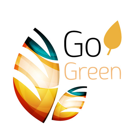 trees services: Go green. Leaf nature concept. Vector icon
