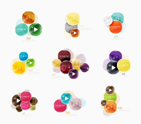 consecutive: Collection of circle web boxes. Vector illustration