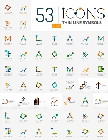 ollection: Collection of linear business logos - charts letters and abstract universal shapes. Growing stats finance concepts, clean modern symbols, graphs. Branding logotype company emblem ideas and branding business identity