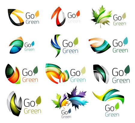 go green logo: Multicolored abstract leaves in nature concept logo set. Vector illustration Illustration
