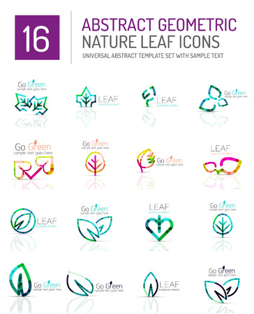 logotypes: Geometric leaf icon set. Thin line geometric flat style symbols or logotypes. Nature green environmental concept, new life idea in various color variations. Eco love heart