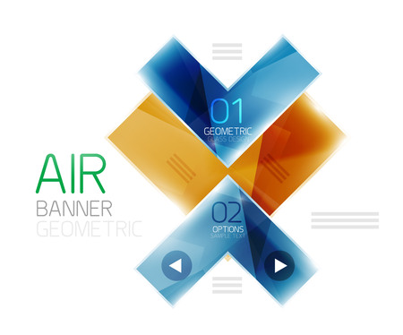 gloss banner: Color glossy glass arrow banner. Vector Illustration