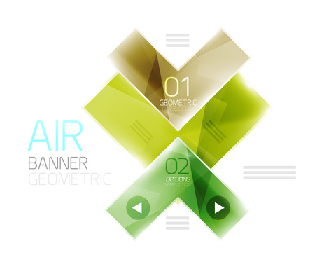 quadrate pictogram: Color glossy glass arrow banner. Vector Illustration