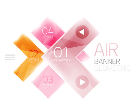 Color glossy glass arrow banner. Vector Illustration