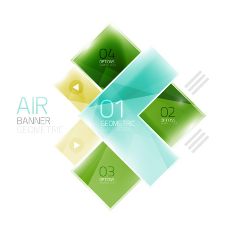 regular tetragon: Color glossy glass arrow banner. Vector Illustration