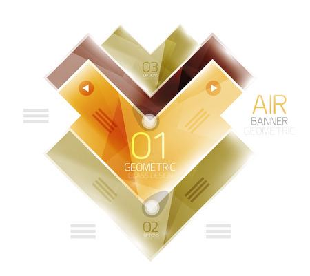 cerulean: Color glossy glass arrow banner. Vector Illustration