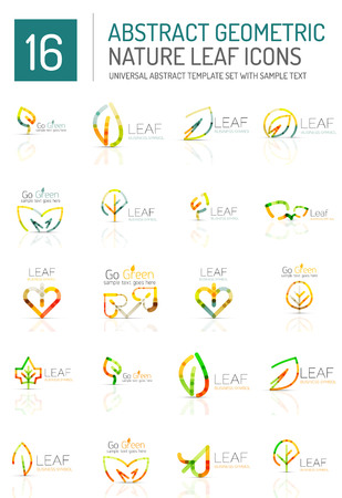 eco icon: Geometric leaf icon set. Thin line geometric flat style symbols or logotypes. Nature green environmental concept, new life idea in various color variations. Eco love heart