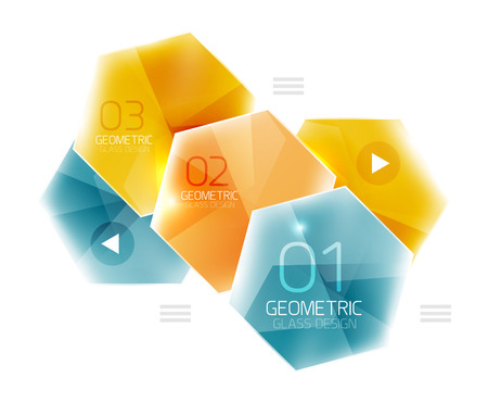 Colorful Glass Hexagon Business Infographic Template, Hexagon ...