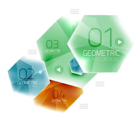 gloss: Colorful hexagon web box. Glossy abstract geometric background