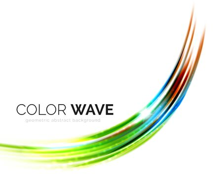 sharp curve: Shiny color wave isolated on white, lines with light effects Illustration