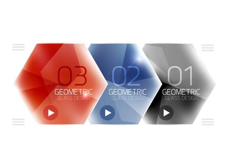 six objects: Colorful glass hexagon business infographic template, hexagon geometric web interface element