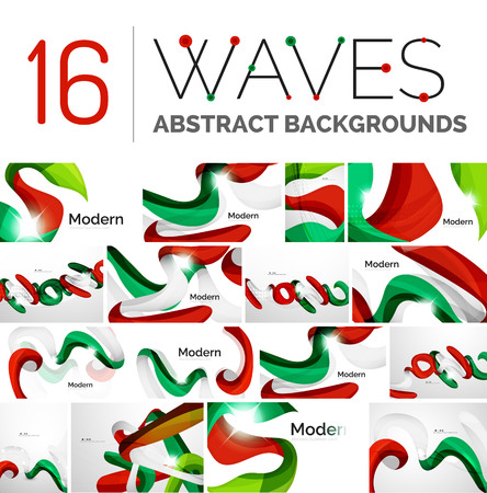 influx: Collection of wave abstract backgrounds - color curve stripes and lines in various motion concepts and with light and shadow effects. Presentation banner and business card message design template set. Illustration