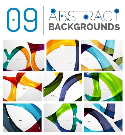 abstruse: Wave abstract background collection - color lines with light effects. Modern elegant motion concept, smooth wavy shape. Presentation banner and identity business card message design template set Illustration