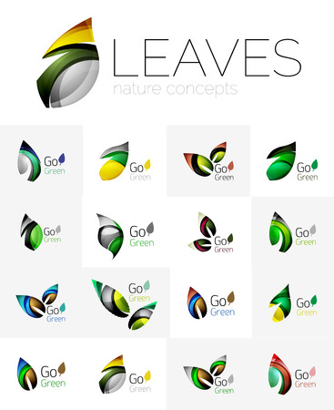 convergence: Colorful abstract geometric design leaves, icon set. Vector illustration