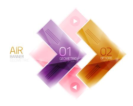 regular tetragon: Color glossy glass arrow banner. Vector Illustration