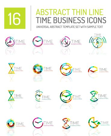 horologe: Geometric clock and time icon set. Thin line geometric flat style symbols. Business time management, running time idea, timing concept
