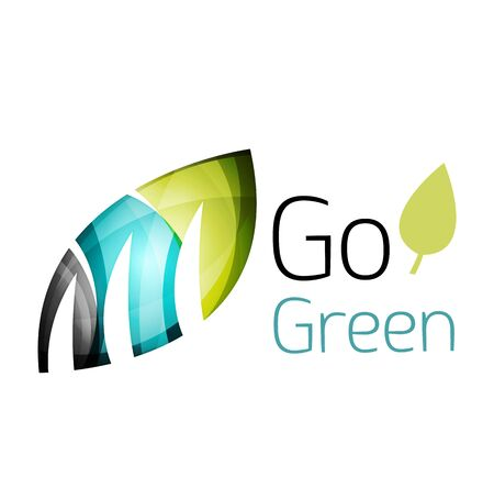 energy market: Go green. Leaf nature concept. Vector icon