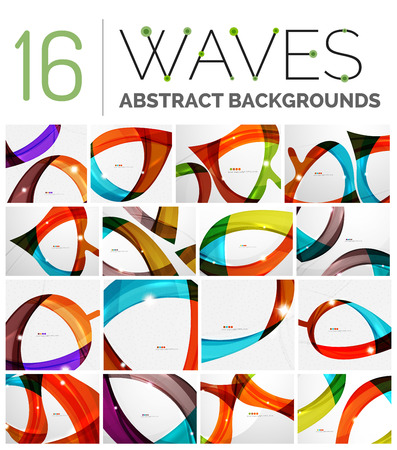 motility: Collection of wave abstract backgrounds - color curve stripes and lines in various motion concepts and with light and shadow effects. Presentation banner and business card message design template set. Illustration