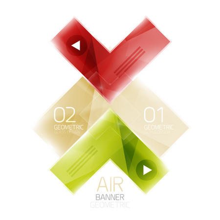 net bar: Color glossy glass arrow banner. Vector Illustration