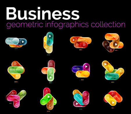 slogans: Collection of round shaped geometric infographics layouts with option text and slogans. Colorful glossy glass design