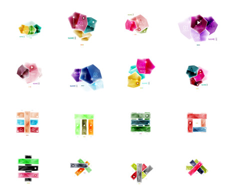 double page: Collection of glossy paper geometric business infographics layouts. Universal presentation elements set Illustration