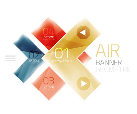 inet: Color glossy glass arrow banner. Vector Illustration