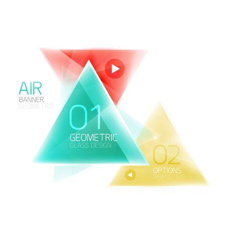 Glass color triangles infographics. Futuristic business design Illustration