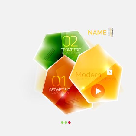 Modello di infografica astratto business geometrico colorato lucido. Modello di stile di vetro lucido con testo di esempio - opzioni e slogan
