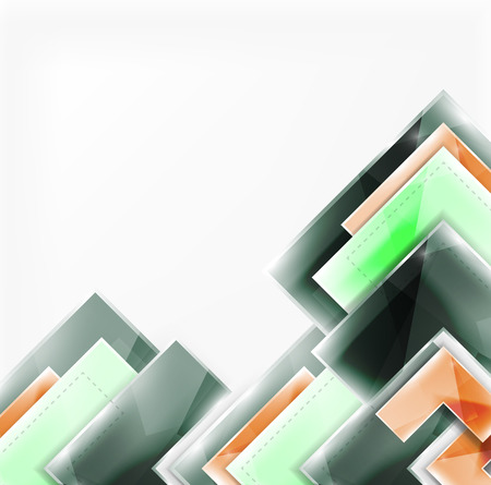 Colorful glossy arrow shapes. Abstract background. Vector web brochure, internet flyer, wallpaper or cover poster design. Geometric style, colorful realistic glossy arrow shapes with copyspace. Directional idea banner Illustration