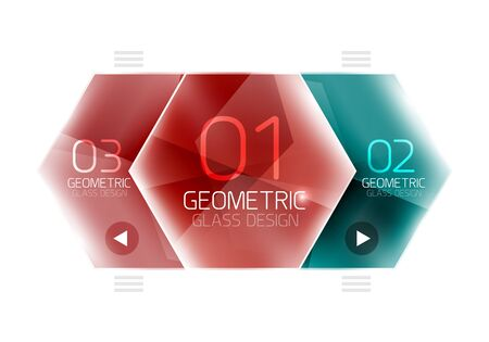 jewel box: Glass color hexagons. Glossy plastic hexagon design with text Illustration