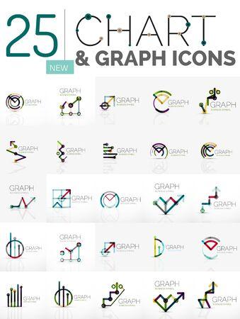 logos de empresas: Resumen colección de logotipos lineales - cuadro o gráfico iconos - símbolos geométricos limpios. Estadísticas creciente conceptos de finanzas, símbolos limpias y modernas. Ideas marca emblema de la empresa logotipo y la marca de identidad de la empresa