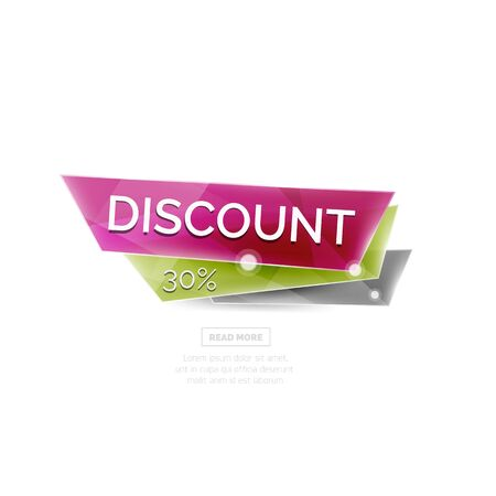 promotional offer: Vector colorful sale banner for promotion or ad. Geometric style vector illustration