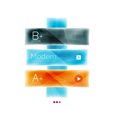 app banner: Business stripes geometric infographic template with sample options and slogan. Glossy glass shiny colorful design, single vector illustration. Infographics layout concept, menu ui app banner Illustration