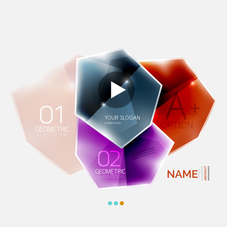 slogans: Shiny colorful geometric business abstract infographics template. Glossy glass style template with sample text - options and slogans