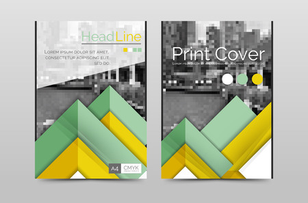 front page: Geometric brochure front page, business annual report cover vector template, A4 size poster Illustration