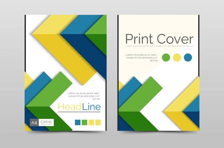 front page: Geometric brochure front page, business annual report cover vector template, A4 size poster Stock Photo