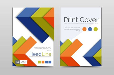 periodical: Geometric brochure front page, business annual report cover vector template, A4 size poster Stock Photo