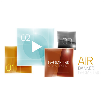 shinny: Air glossy square composition, glass geometric elements with infographic sample text and buttons